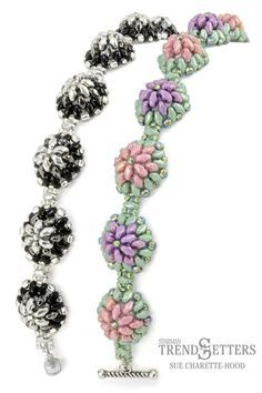 Free Tutorial! MiniDuo Bracelet by Sue Charette-Hood 'Bachelor Buttons' ~ Seed Bead Tutorials