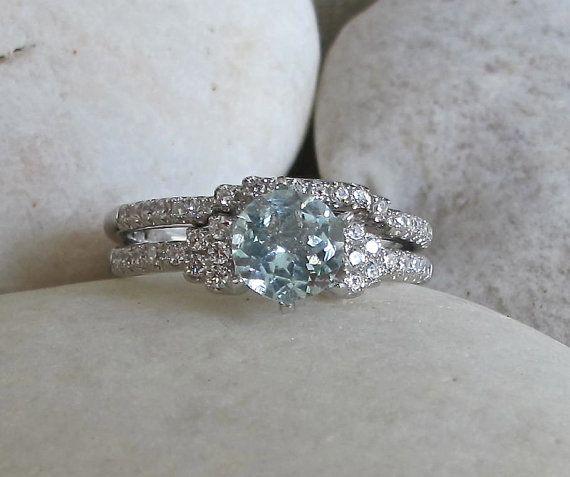 Ensemble de mariée aigue-marine Promise Ring - Band Ring - bague-Engagement et bague de mariage-mariage ensemble bague-Halo Ring - Pierre bague anniversaire-Ri