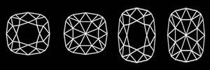 Cushion Cut Diamond Shapes. Cutting diagram of cushion cut diamonds.