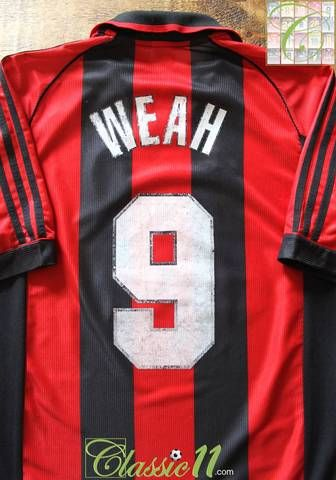 0a11e29a512 Official Adidas AC Milan home football shirt from the 1998 98 season.  Complete with Weah  9 on the back of the shirt.