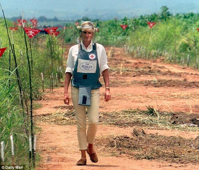 Tireless campaigner: Diana, pictured in 1997 walking near a mine field in Angola, will be forever remembered for her charity work. 'All I am trying to do is help,' she said of her call for a total ban on landmines