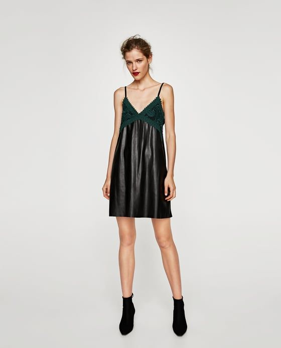 ZARA - SALE - FAUX LEATHER DRESS WITH LACE