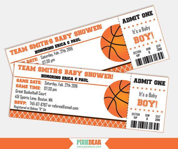 Basketball Baby Shower Invitation   Baby Shower Invitation For Boy    Basketball Invitation   Basketball Ticket Invitation (Instant Download)