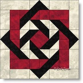 """""""Slip Knot"""" quilt block featuring squares, rectangles, half square triangles and flying geese patches."""