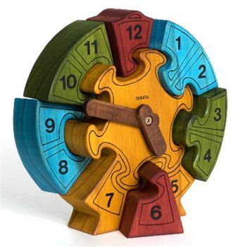 Wooden Clock Puzzle, learning to count and tell the time