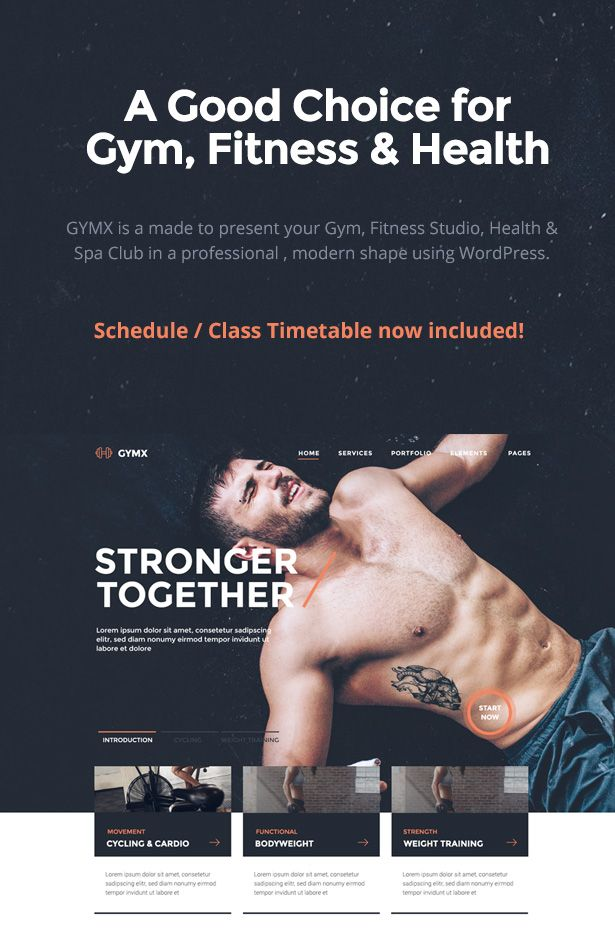 Gym X is a responsive Fitness, Gym & Sport Club Theme built for wordpress.   It has all you need create  a professional website for Gym, Fitness Clubs, Crossfit Boxes, Sports & Health Websites, Per...
