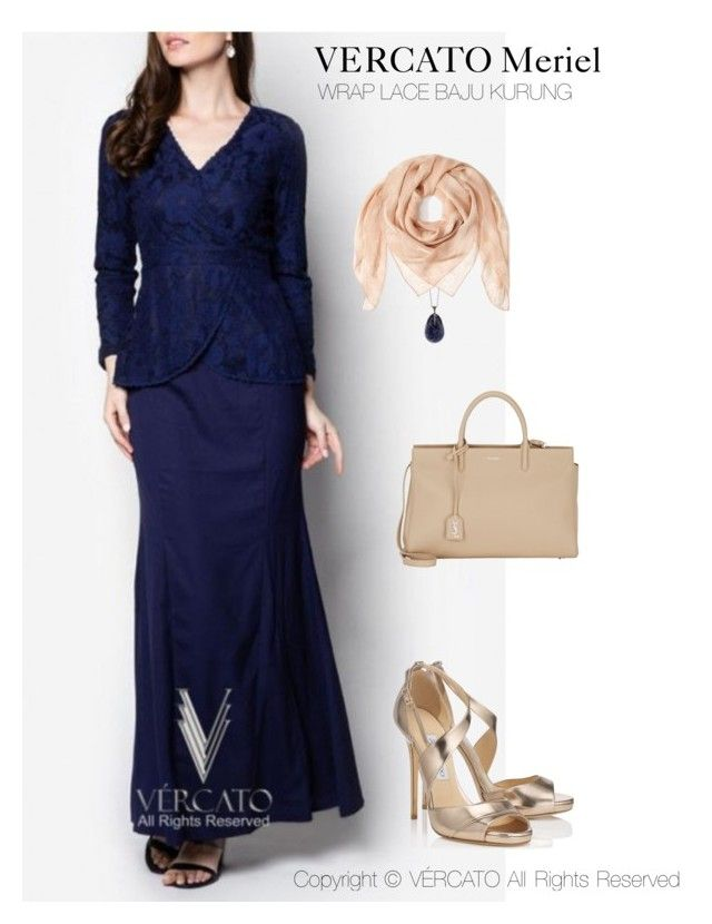 """""""VERCATO Meriel Baju Kurung Moden""""in navy blue and also available in mint green. SHOP NOW: http://www.vercato.com/wrap-baju-kurung-moden-lace-vercato-meriel-navy-blue"""