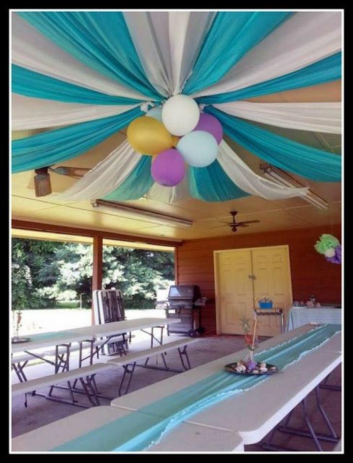 Cheap ribbon ideas- Plastic table clothes & balloons