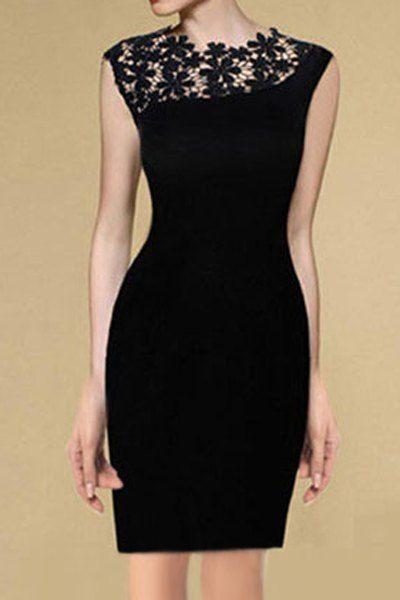Elegante Gola Redonda Emenda de Renda Sem Manga Vestido de Preto para Mulher