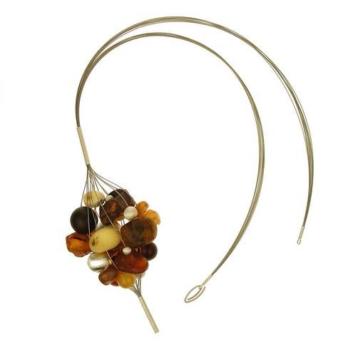 Necklace | Maryla Dubiel (PL).  Amber and silver.