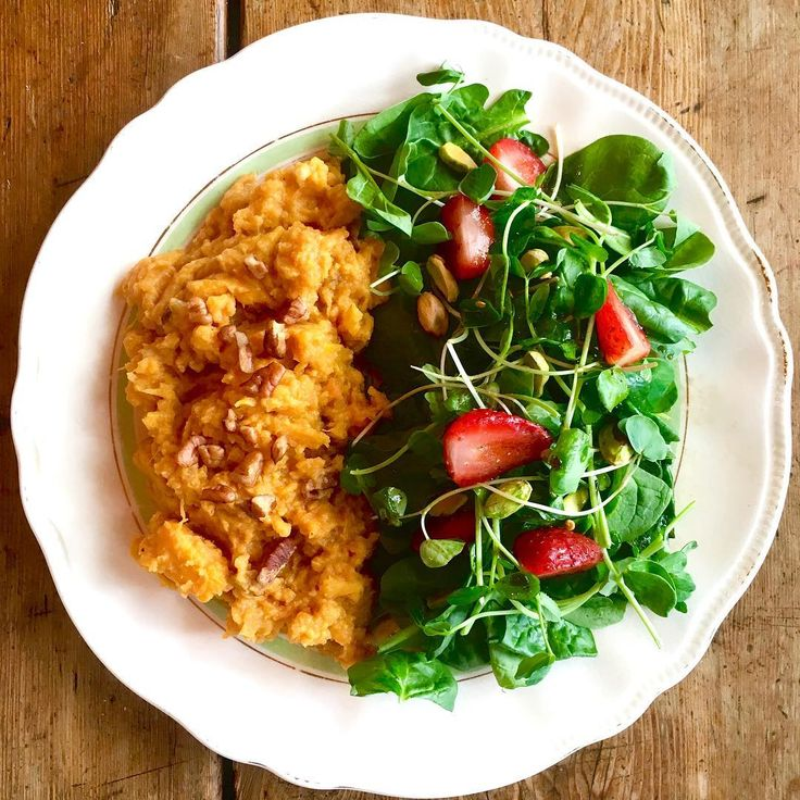 Sweet Potato Mash and Spinach Salad with Strawberries  A light and healthy combo with a little bit of sweet from the strawberries, a little zing from the balsamic, and a mouthful and more of creamy hearty mash.