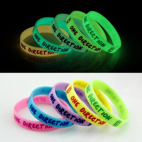 HOT NEW ONE Direction Glow in the Dark Silicone Wristband Bracelets 1d - Price: $5.98