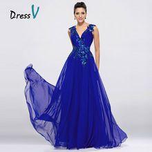DressV Azul Royal Chiffon Vestidos Longos de Noite Com Decote Em V A-Line Até O Chão Vestido de Baile Ocasiões Formais Apliques Vestido de Noite(China)