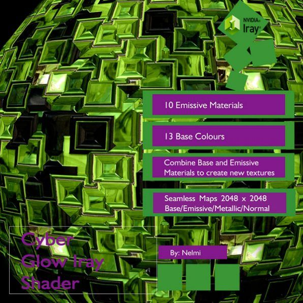 A set of highly detailed Cyber Glow shaders for Daz Studio Iray. The shaders include emissive maps and can be mixed and matched with the base shaders to create new shaders/effects.  Texture maps have been tweaked inside a PBR program to give accurate and realistic results when used inside DazStudio with Iray.