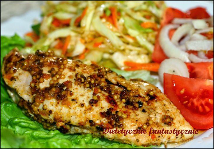 dietetycznie fantastycznie: Pieczona pierś z kurczaka w musztardzie z surówką ...