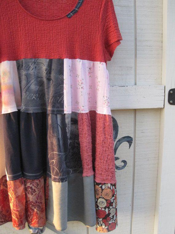 Patchwork boho Bohemian tunic dress Rustic by ShabyVintage on Etsy