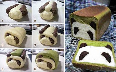 Panda bread.  Matcha and chocolate.