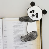 Panda Bear Bookmark made from the corner of a sealed envelope