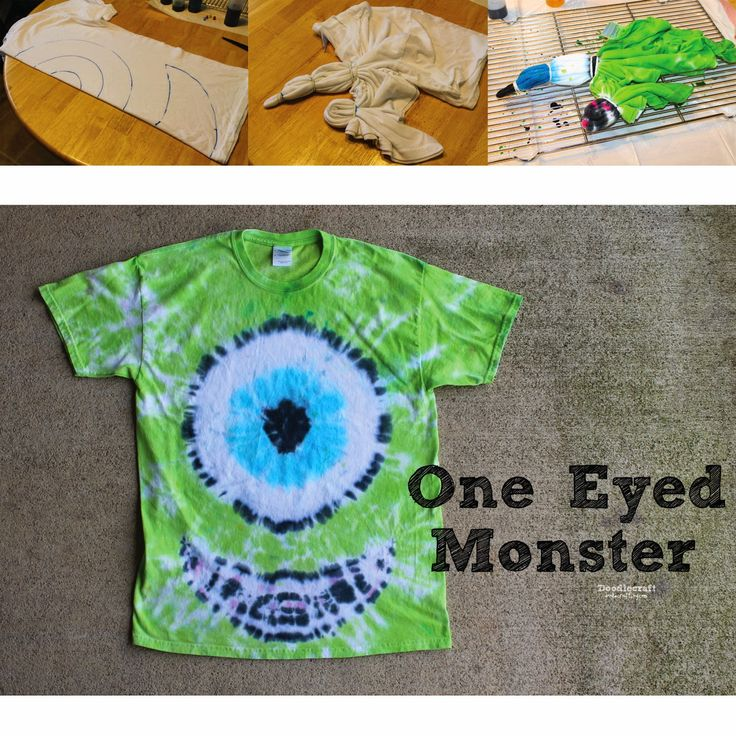 Halloween Tie Dye Party!  One eyed monster!  Mike Wazowski!  Full tutorial and pattern!  Easy DIY with Tulip One Step Dyes!