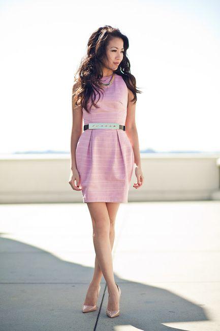 Wendy's Lookbook: Pink tulip dress Silver bar belt Nude pumps