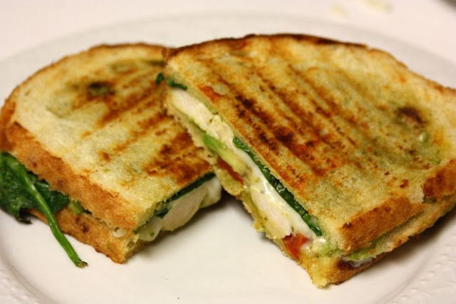 Grilled chicken, avocado, fresh mozzarella, baby spinach, roasted pepper sandwich. Good site for recipes.