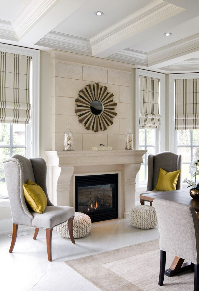 Living room design in white with a limestone fireplace #limestone #tiles #home #interior #naturalstone #decor