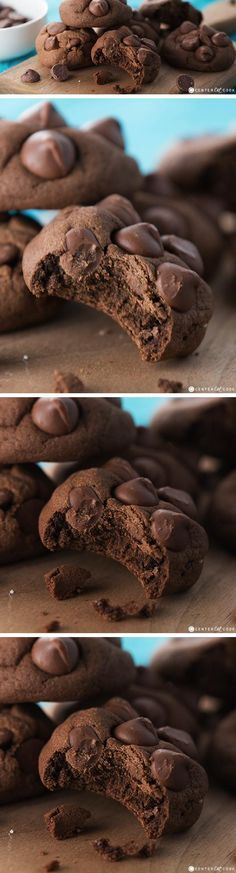 """These DOUBLE CHOCOLATE CHIP PUDDING COOKIES are ultra soft and thick and the """"secret"""" ingredient is pudding mix in the batter! Easy to make and loaded with chocolate chips, you might call these one of the softest cookies ever!"""