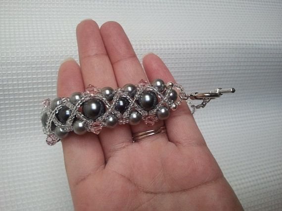 Iced Grey Pearl Bracelet with Pink accented Crystals by ReneaRenee on etsy.com, $45.00