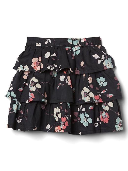 Gap Baby Print Tiered Flippy Skirt Black Print Size 5 YRS