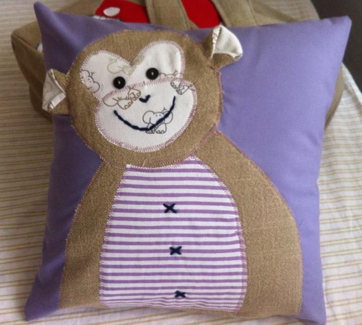 Happy Pillow- Happy monkey- handmade pillow  35x35 cm  Order at: happy_pillows@yahoo.com