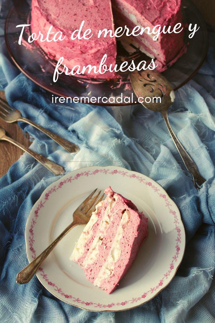 Esta Torta de merengue con frambuesas nos encanta y si bien no tiene el clásico aspecto es maravillosa ¿Quieres ver como prepararla?  #recetatorta #cocinachilena #tortamerengue Menu, Ice Cream, Fish, Empanadas, Desserts, Cakes, Cake, Raspberry Tarts, Raspberries