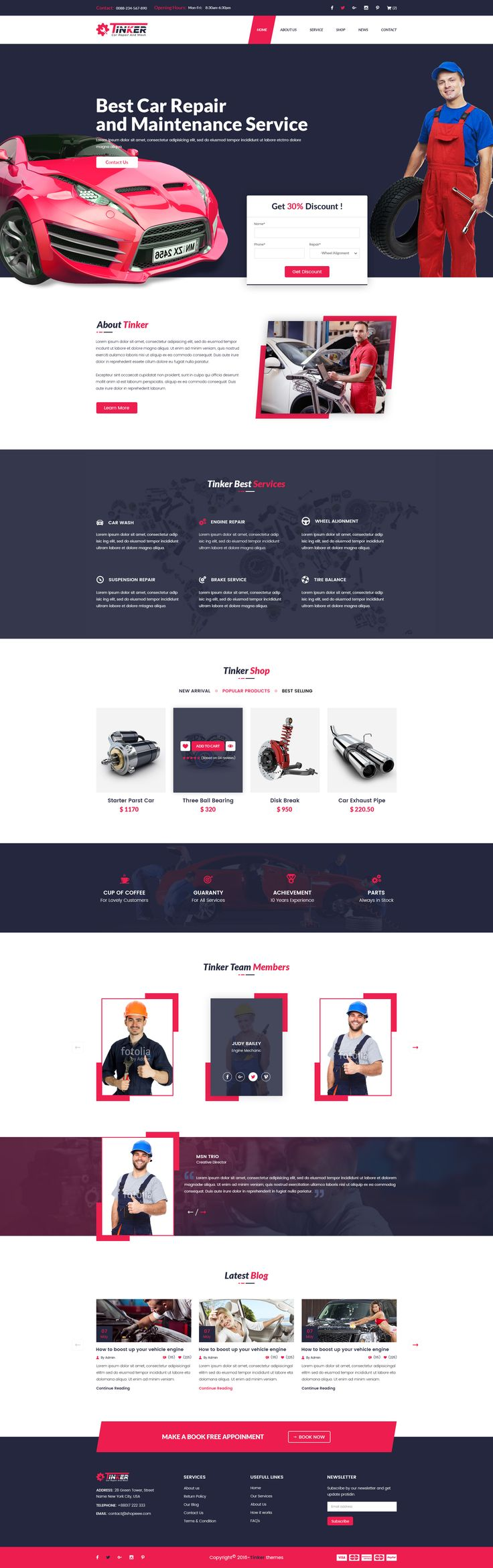 Tinker - Car Repair and eCommerce PSD • Download ➝…