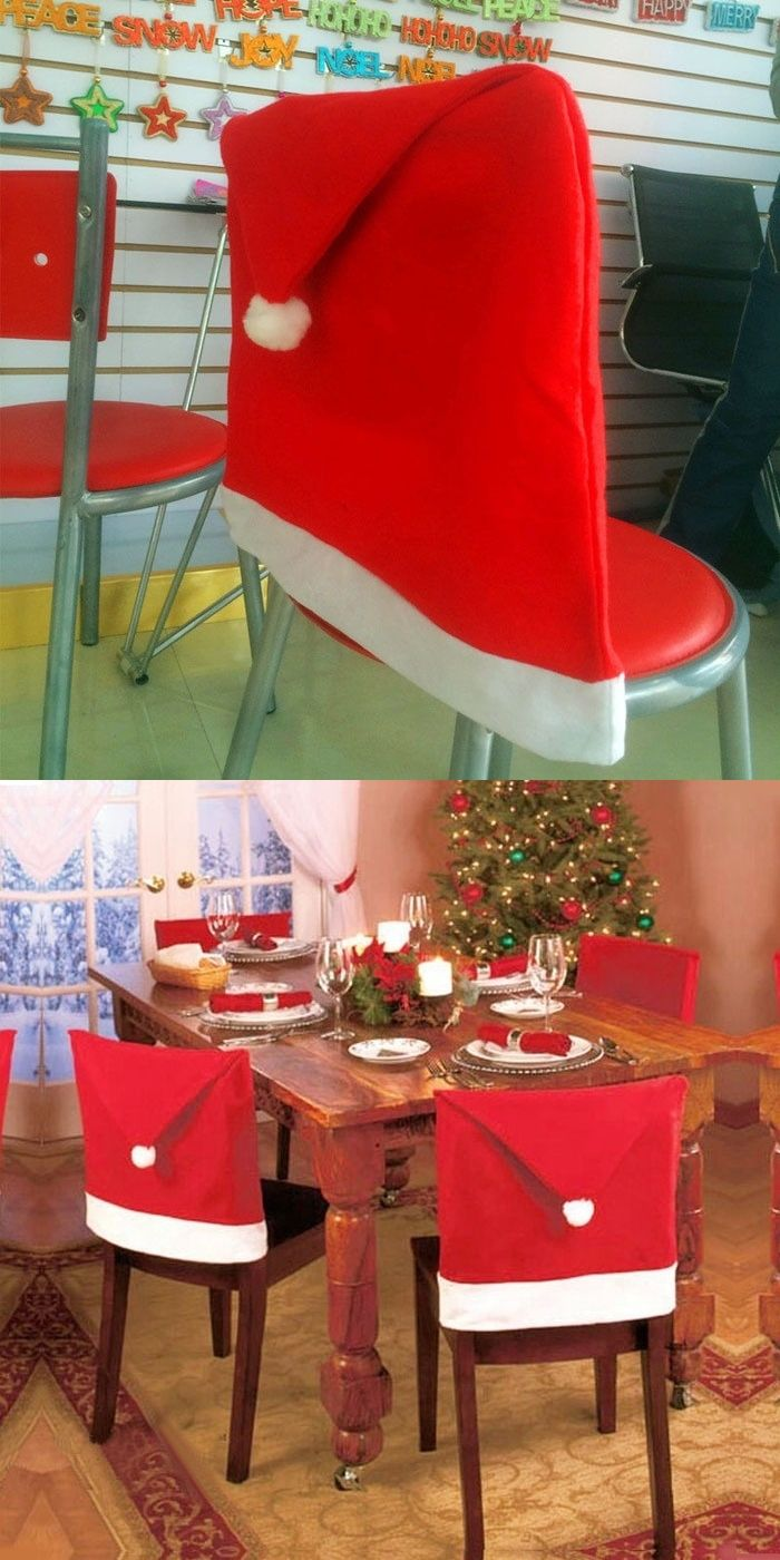 c24d4c2614a30 Xmas Home Decoration Santa Dinner Chairs Red Hat Chair Covers Christmas Cap