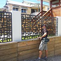 Laser cut decorative fence infill panels.  Urban Metal Design : Oriental Material : Powder Coated Mild Steel Great for privacy and security. Easy to install.
