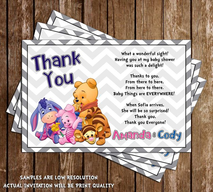what to write in my bridal shower thank you cards%0A Winnie the Pooh  Gender Neutral  Baby Shower Thank You Card