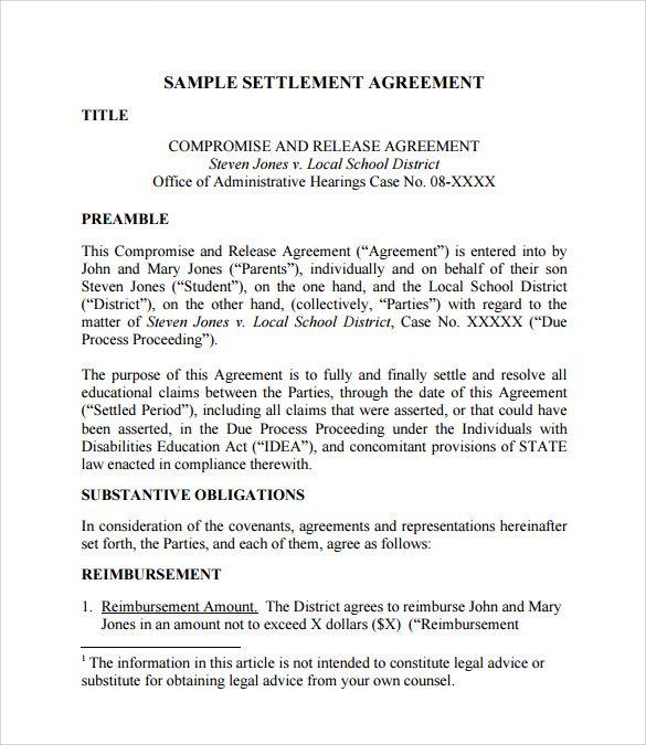 Divorce Settlement Agreement Template Divorce Settlement Divorce