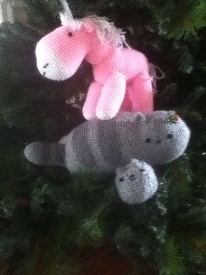 A unicorn and 2 pusheens in a Christmas tree! How cute.