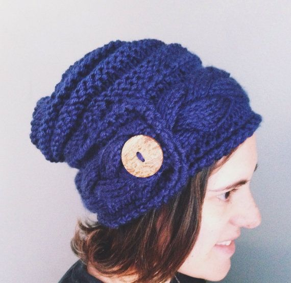 Cable Knit Slouchie Beanie by AddieBooAccessories on Etsy