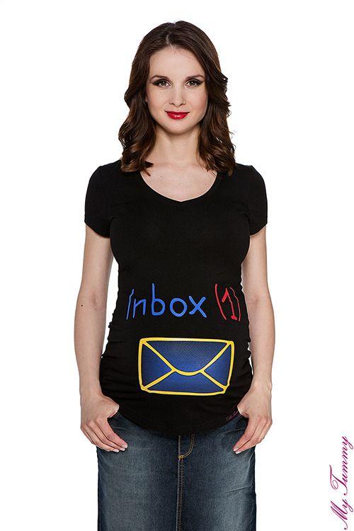T-shirt ciążowy Inbox czarny