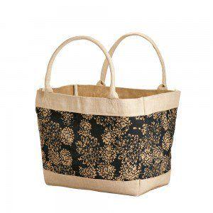 Floral Jute Shopping Bag