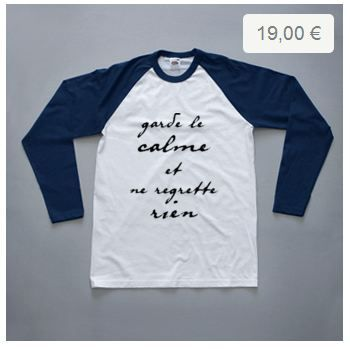 """Je ne regrette rien"" baseball, by HalfPomelo Studio.  Buy it for only 19€ (delivery costs included for all European countries)"