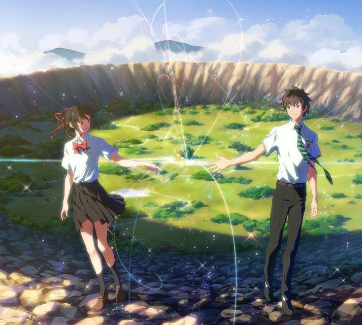 Anime Your Name. Mitsuha Miyamizu Taki Tachibana Kimi No Na Wa. Fondo de Pantalla<<¡La quiero ver