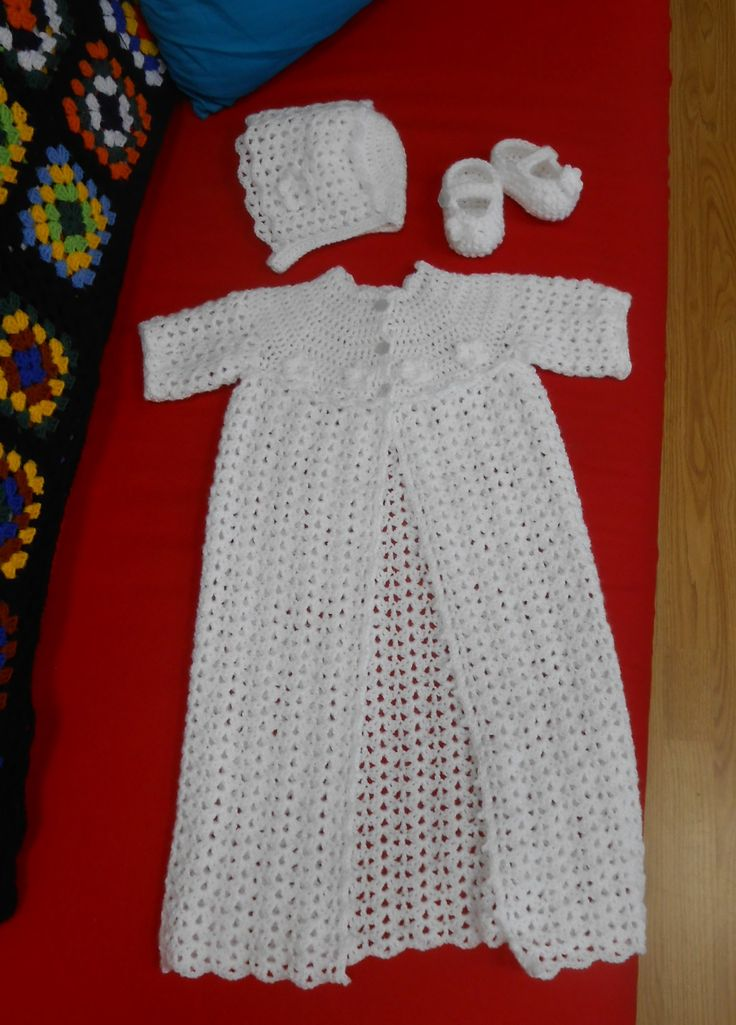 Crocheted Heirloom Christening Robe, Hat and Shoes