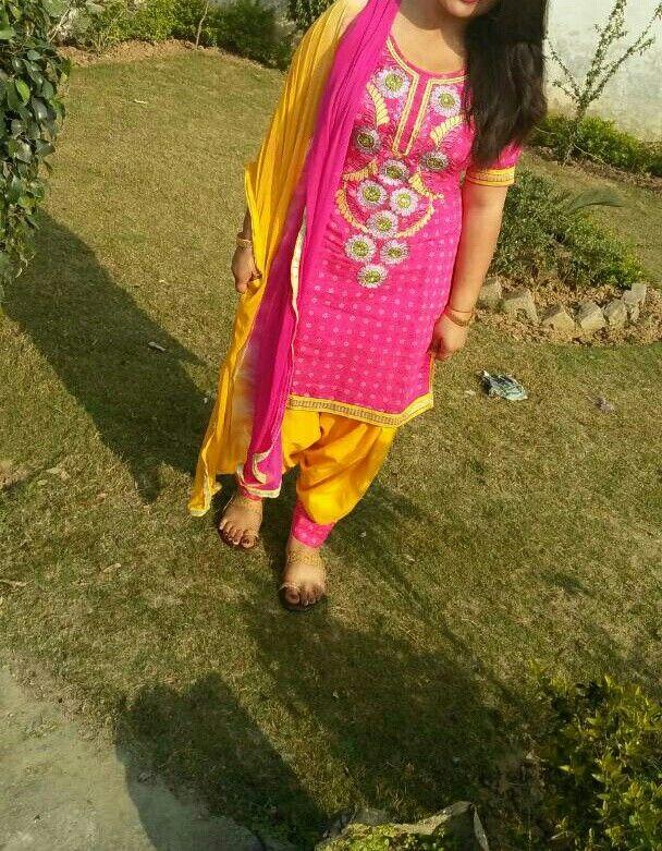 Pink n yellow patiala suit salwar