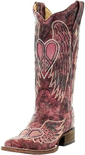 Womens New Fantastical Shimmering Sequin Western Cowgirl Biker Boots Snip Red