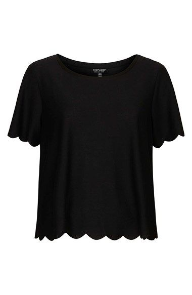 scallop frill tee / topshop - with bright cigarette trousies