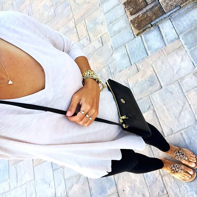 IG @mrscasual <click through to shop this look> Lightweight loose tunic sweater. Zella live in leggings. Tory burch miller sandals. Black cross body bag. Kendra Scott