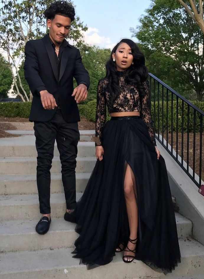 Two Piece Black Prom Dresses,with Lace Long Sleeve Prom Dress,Sequins A-Line Tulle Prom Dresses,Side Split Evening Gowns Cheap Sexy Girls Occasion Party Dress