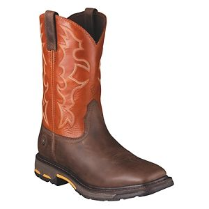 Ariat Workhog Wide Square Toe Pull On Work Boots for Men - Dark Earth/Brick - 11.5 W