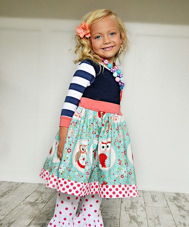 Look at this #zulilyfind! Navy & Coral Owl 3/4 Sleeve Dress - Infant, Toddler & Girls #zulilyfinds